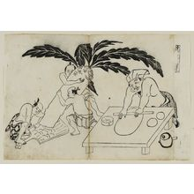 奥村政信: Daikoku no teuchi wa Komi no gyosan. (Daikoku's hand-made products, fully flavored), from an untitled series of the Seven Gods of Good Fortune in the pleasure quarters - ボストン美術館