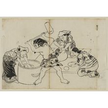 奥村政信: Kone (?) Daikoku, assisted by three women, pounding mochi, from an untitled series of the Seven Gods of Good Fortune in the pleasure quarters - ボストン美術館