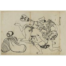 Okumura Masanobu: Fukuroku Wins by a Head (Osumai wa Fukuroku no ire-kubi), from an untitled series of the Seven Gods of Good Fortune in the pleasure quarters - Museum of Fine Arts
