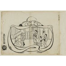 奥村政信: Inside the Bag, the Pleasure Quarters (Fukuro no uchi ni sato), from an untitled series of the Seven Gods of Good Fortune in the pleasure quarters - ボストン美術館