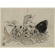 奥村政信: Courtesan Imitating the Immortal Kinko - ボストン美術館