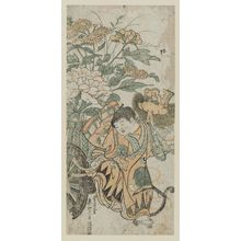 Okumura Masanobu: Child with Lion Mask and Flower Cart - Museum of Fine Arts