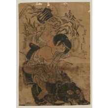 Okumura Masanobu: Kintarô with Ax, Sitting on a Bear - Museum of Fine Arts