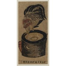 奥村政信: Rooster Perched on Mortar - ボストン美術館