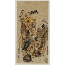 Torii Kiyonobu I: Actor Nakamura Takesaburô as Tora Gozen and two other actors as kamuro - Museum of Fine Arts