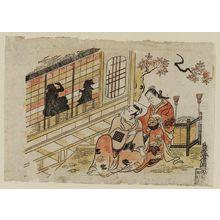 鳥居清信: Actors Ichikawa Danjûrô II as Soga Gorô and Fujimura Handayû as Koshizuka - ボストン美術館