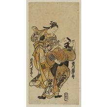 鳥居清信: Actors Ichikawa Danjûrô II as Hiranoya Tokubei and Sanogawa Mangiku as Ohatsu - ボストン美術館