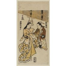 Torii Kiyonobu I: Actors Nakamura Takesaburô as Jôruri-hime and Tamazawa Rinya as Ushiwakamaru (Yoshitsune) - Museum of Fine Arts