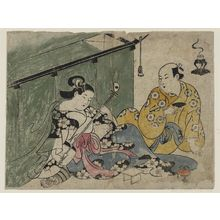 鳥居清信: Courtesan and Guest with Mosquito Net - ボストン美術館