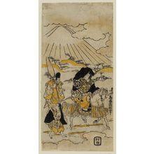 Torii Kiyonobu II: Actor Ichimura Takenojô II as Ariwara Narihira, with unidentified actors - Museum of Fine Arts