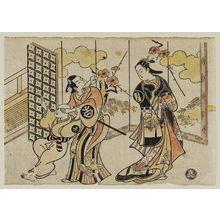 Torii Kiyomasu I: Actors Sanjô Kantarô as Oshichi, Ichimura Takenojô II as Kichisa, and Ichimura Benjirô (?) - Museum of Fine Arts