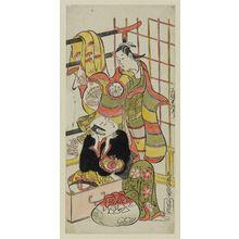 鳥居清信: Actors Sanjô Kantarô II and Fujimura Hanjûrô - ボストン美術館