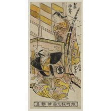 鳥居清信: Actors Sawamura Sôjûrô as Minamoto Yorikane and Ogino Isaburô as Okuni - ボストン美術館