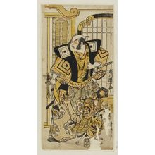 鳥居清信: Actors Ichikawa Ebizô as Shinozuka Gorô and Ishimura Manzô as a Monkey - ボストン美術館