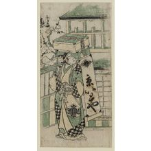 Torii Kiyonobu II: Actor Onoe Kikugoro as the thread vendor Ichimuraza - Museum of Fine Arts