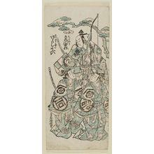 Torii Kiyonobu II: Actors Bando Hikosaburô as Oniô, Arashi Koroku as Soga no Jûrô, and Sanogawa Ichimatsu II as Soga no Gorô - Museum of Fine Arts