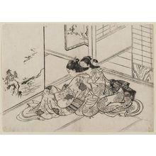 西川祐信: Woman holding letter, with another woman - ボストン美術館