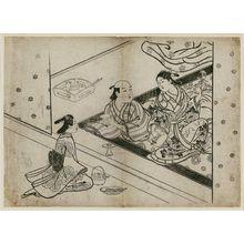 西川祐信: Maid, man, and woman playing the samisen - ボストン美術館