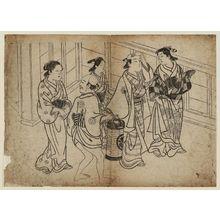 西川祐信: Procession of 3 women and 2 men - ボストン美術館