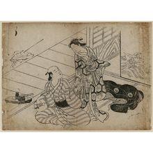 西川祐信: Man playing samisen for lady - ボストン美術館