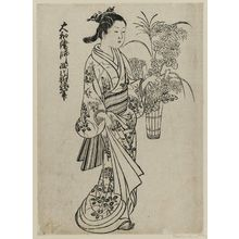 Nishikawa Sukenobu: A woman carrying a bucket of flowers. Ink. From the album: (Yamato Furyu) Nishikawa Yasa Sugata. Ill. no. 8. - Museum of Fine Arts