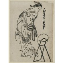 Nishikawa Sukenobu: Girl looking over shoulder into mirror. From the album (Yamato Furyu) Nishikawa Yasa Sugata illus. 11 - Museum of Fine Arts