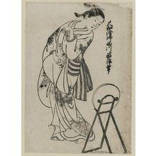 西川祐信: Girl looking over shoulder into mirror. From the album (Yamato Furyu) Nishikawa Yasa Sugata illus. 11 - ボストン美術館