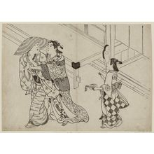 Hasegawa Mitsunobu: Courtesan clinging to departing client - Museum of Fine Arts