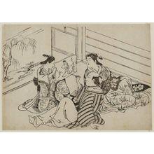 Hasegawa Mitsunobu: Man drawing a picture of a courtesan - ボストン美術館