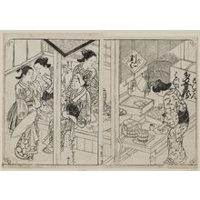 西川祐信: Maid servants and the managing woman. Ink. From Vol II, (Courtesans), 13th double page, of Hyakunin Joro Shina Sadame. - ボストン美術館