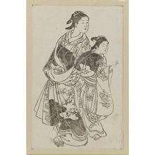 西川祐信: Beauty and kamuro. Ink. From Ehon Asakayama, right side of double page 10 - ボストン美術館