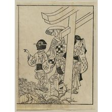 Nishikawa Sukenobu: Visiting the shrine. From Ehon Masu-kagami, Vol III, left half of 11th double p. - Museum of Fine Arts