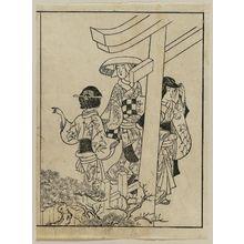 西川祐信: Visiting the shrine. From Ehon Masu-kagami, Vol III, left half of 11th double p. - ボストン美術館