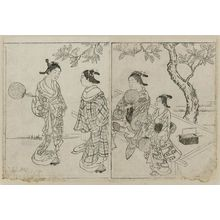 Nishikawa Sukenobu: Courtesans under an oak tree. From Ehon Tokiwagusa, Vol. 3, double p. illus. No. 6. - Museum of Fine Arts