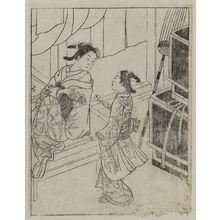 Nishikawa Sukenobu: A girl is presenting a letter to a courtesan. From Ehon Tokiwagusa, vol.3. R. half of illus, No. 7. - Museum of Fine Arts