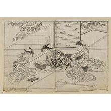 西川祐信: Courtesans amusing themselves with incense. From Ehon Tokiwagusa, Vol 3, double p. illus. No. 11. - ボストン美術館