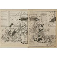 西川祐信: Three courtesans having a banquet, with a kamuro attending with the choshi (sake-pot). From Ehon Tokiwagusa, Vol. 3, double p. illus. No. 15. - ボストン美術館