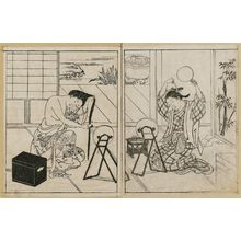 Nishikawa Sukenobu: Two courtesans: (L) one washing hair: (R) another arranging hair. Ink. (L) late: (R) early impression. From Ehon Tokiwagusa, Vol 3, double p. illus. No. 9. - Museum of Fine Arts