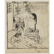 Nishikawa Sukenobu: A girl washing her hair in a bucket - Museum of Fine Arts