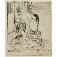 西川祐信: A girl washing her hair in a bucket - ボストン美術館
