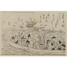 Nishikawa Sukenobu: Party out of a boat, catching fire-flies. Poem (upper right); from Ehon Makusu-ga-hara, vol. 3, sheets 8,9. - Museum of Fine Arts