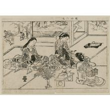 Nishikawa Sukenobu: Yuya Gozen and two ladies; from Ehon Tokiwagusa, vol. 1, double page illus. No. 13 - Museum of Fine Arts