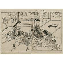 西川祐信: Yuya Gozen and two ladies; from Ehon Tokiwagusa, vol. 1, double page illus. No. 13 - ボストン美術館