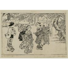 Nishikawa Sukenobu: Women viewing wistaria flowers. From Ehon Tokiwagusa, vol. 2, double page illus. No. 6 - Museum of Fine Arts