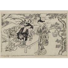 西川祐信: Three women watching sparklers on a bench. From Ehon Tokiwagusa, vol. 2, double page illus. No. 10 - ボストン美術館