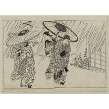 西川祐信: Four women with umbrellas in a shower. From Ehon Tokiwagusa, vol. 2, double page illus. No. 14 - ボストン美術館