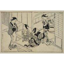 Nishikawa Sukenobu: Three courtesans and a yarite (manageress). From Ehon Tokiwagusa, vol. 3, double page illus. No. 5 - Museum of Fine Arts