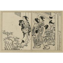西川祐信: Three courtesans and two kamuro on a street. From Ehon Tokiwagusa, vol. 3, double page illus. No. 8 - ボストン美術館