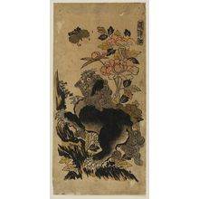 Nishimura Shigenaga: Lion, Peonies, and Butterfly. Series: Ka Shin Sai. - Museum of Fine Arts