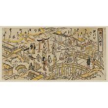 Nishimura Shigenaga: Panoramic View of Fukagawa from Eitai Bridge (Eitai-bashi Fukagawa no chôyô) - Museum of Fine Arts